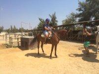 Enseñando al pequeño a montar a caballo
