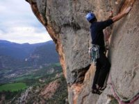 Climbing with the material at the waist