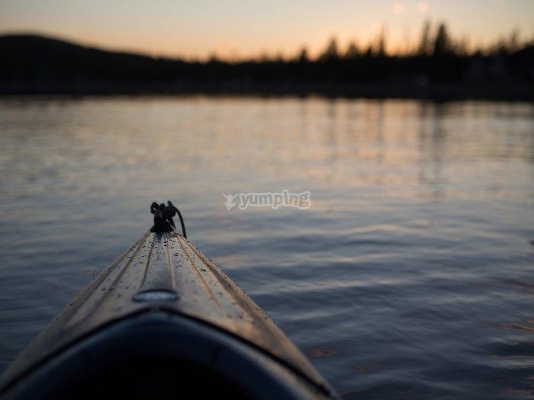 Enjoy the sunset while canoeing