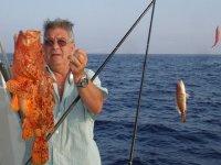 Mostrando un pez de color naranja