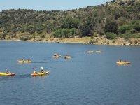 Varias canoas en el agua