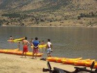 A punto de comenzar con la ruta en canoa