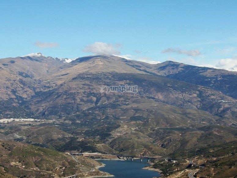 Rules reservoir, Siera de la Alpujarra and Sierra Nevada mountain ranges
