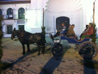 Paseo en carruaje de mulas, aldea del Rocío, niños