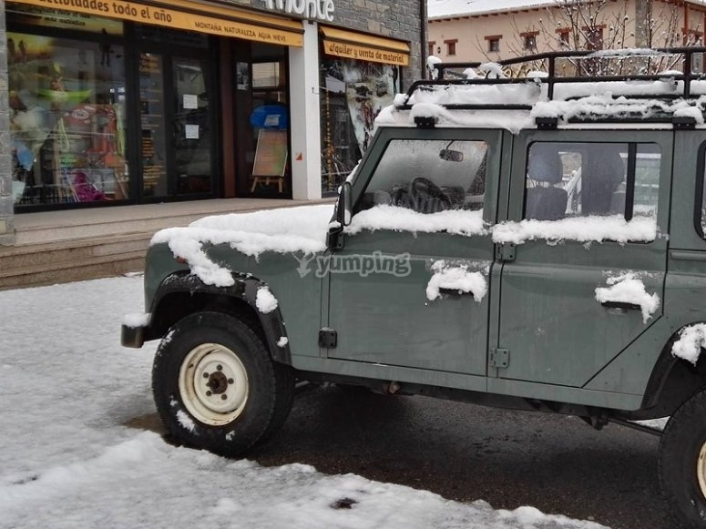 All-terrain vehicle parked in Ordesa and Monte Perdido
