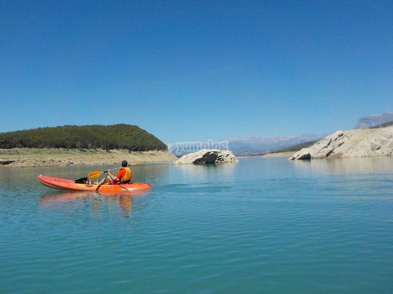 Kayak in blue waters