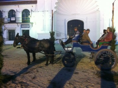 Giro in carrozza attraverso il villaggio di Rocio con la notte