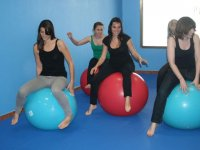 Girls on pilates balls
