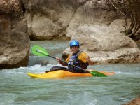 Saluting from the kayak in Huesca