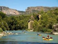 Navigable river in canoe in Huesca