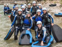 Group of hydrospeed in the river of Huesca