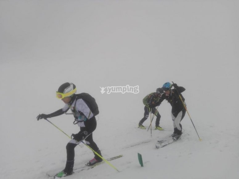 Skiers day of blizzard