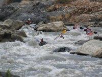 Descending the river by kayak