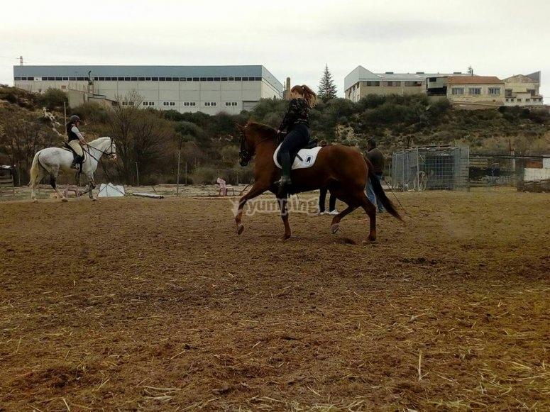 Montando a caballo en hípica Sax