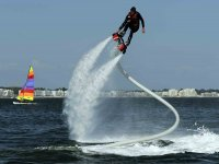 Jumps and turns over the flyboard table