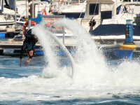 Practicing flyboard in Madrid
