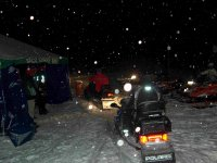 Nigh route in snowmobile
