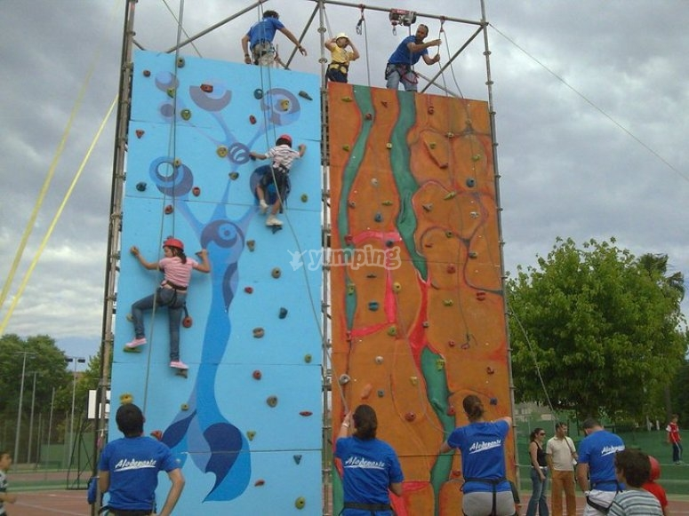Ascending the climbing wall
