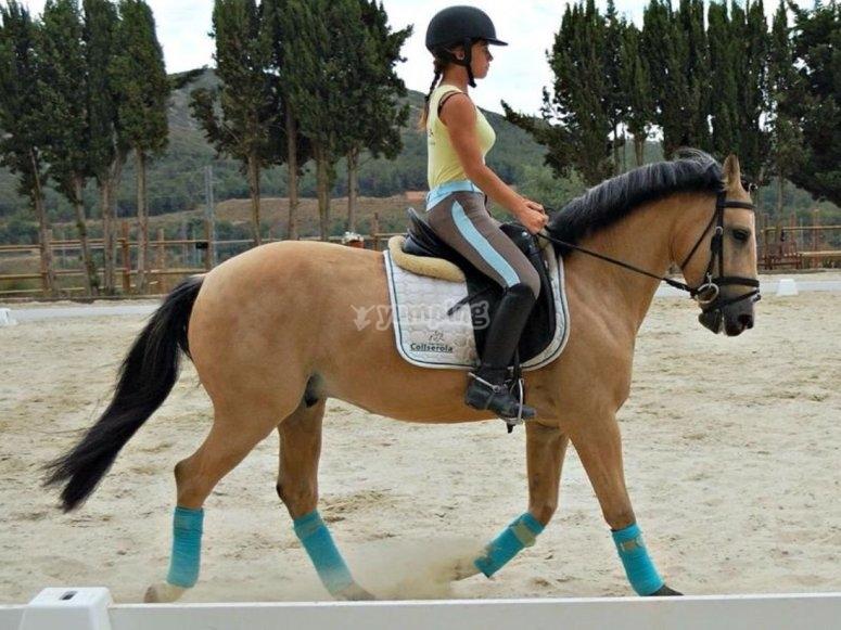 Alumna encima del caballo