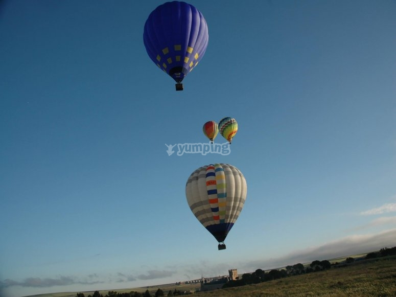 Group of balloons on air