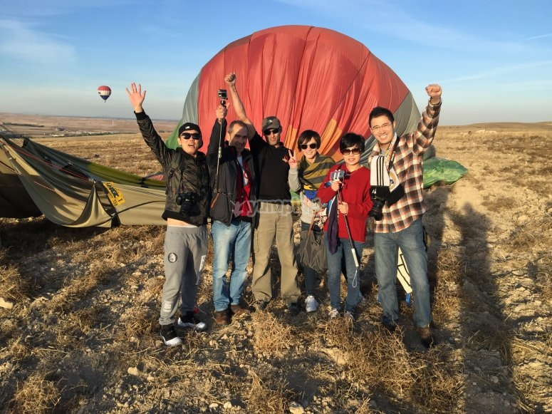 All together with the balloon