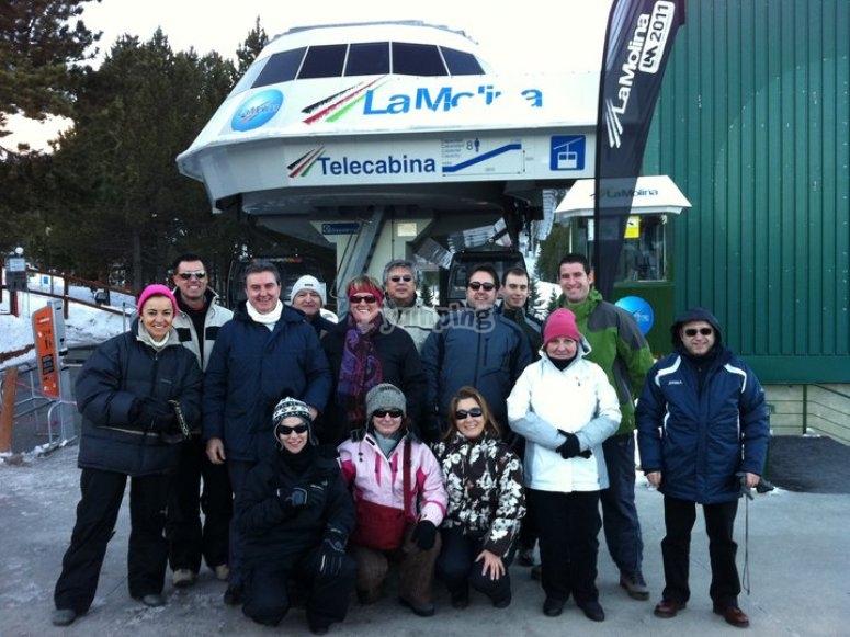 Preparando la jornada de esquí
