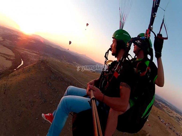 Paraglider flight at sunset in Madrid