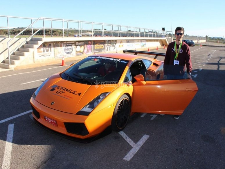 Driving a Lamborghini at the circuit