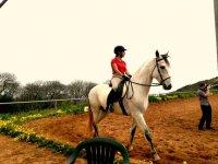 Riding a horse