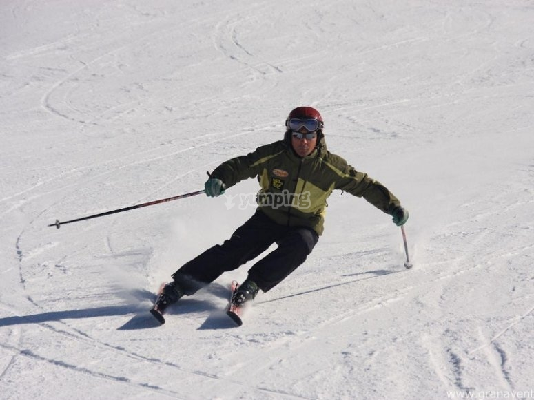 Practicing alpine ski