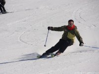 Skiing down