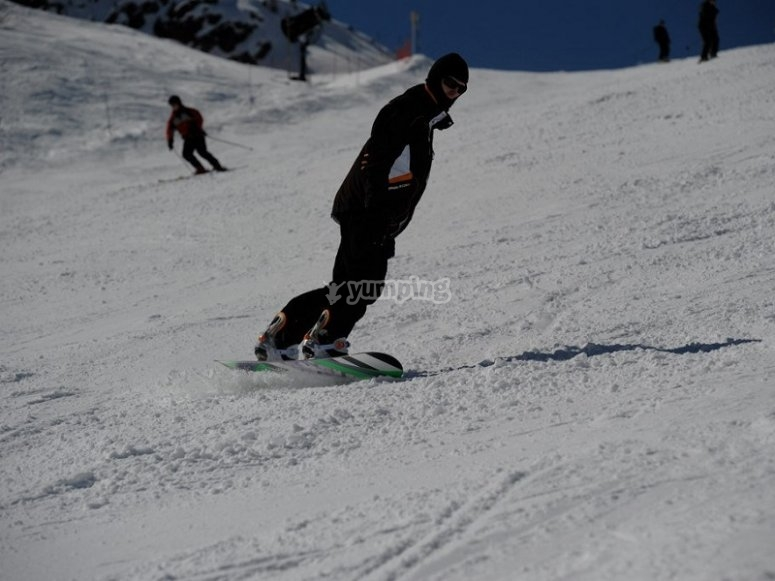 Una gran sesion de snowboard