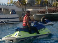 Starting the route on a jet ski