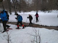 Crossing the creek with snowshoes