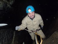 Rappel in the Alava cave