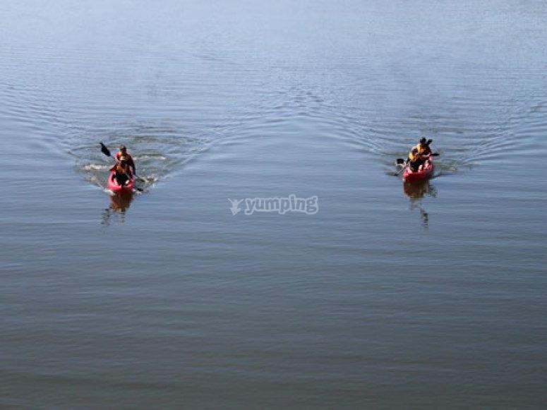 Disfrutando de la ruta en kayak