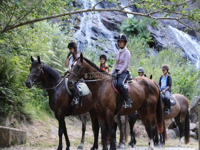 Enjoying the route on horseback