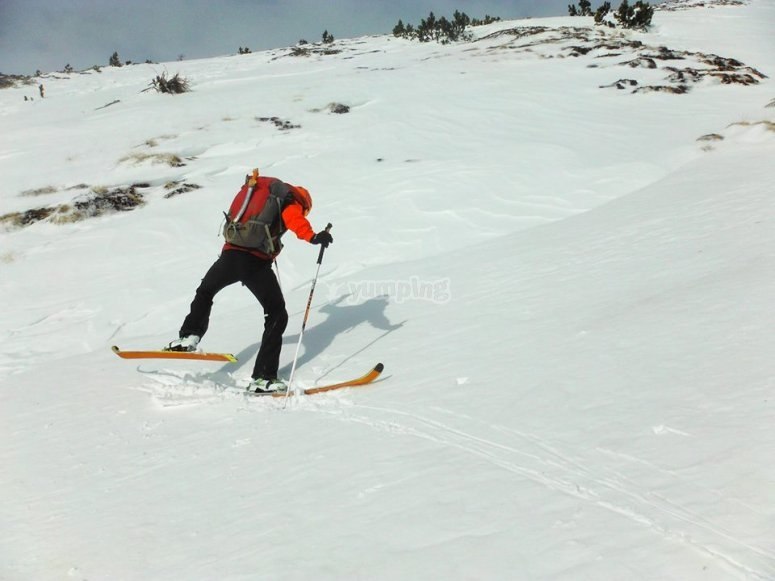 Practising Alpine skiing in Gerona