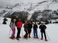 Expedition group with snowshoes
