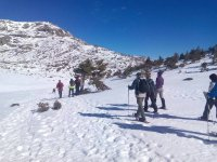 Crossing with snowshoes in Penalara
