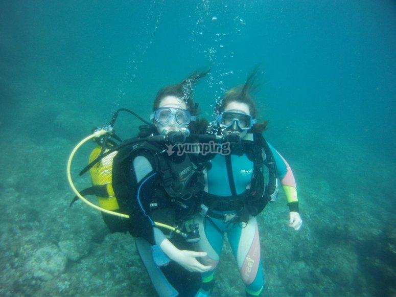 Couple of scuba divers