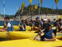 En las clases de kayak