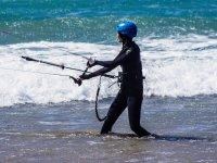 Fase iniziale del corso di aquiloni a Lanzarote