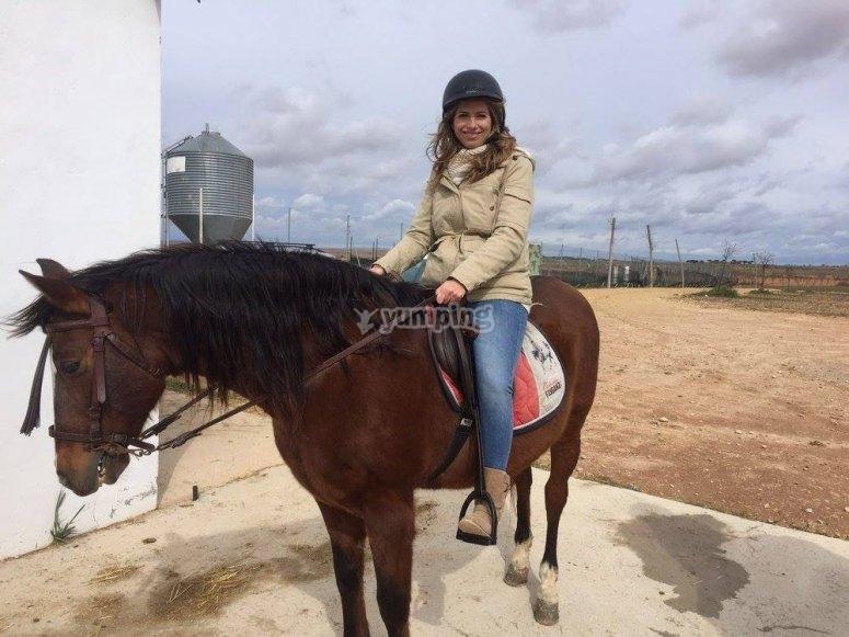 Subida al caballo en la hipica