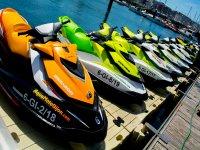 Fleet of jet skis at the door