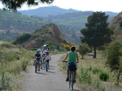 Ciclista Vía Verde da Horta de Sant Joan a Xerta