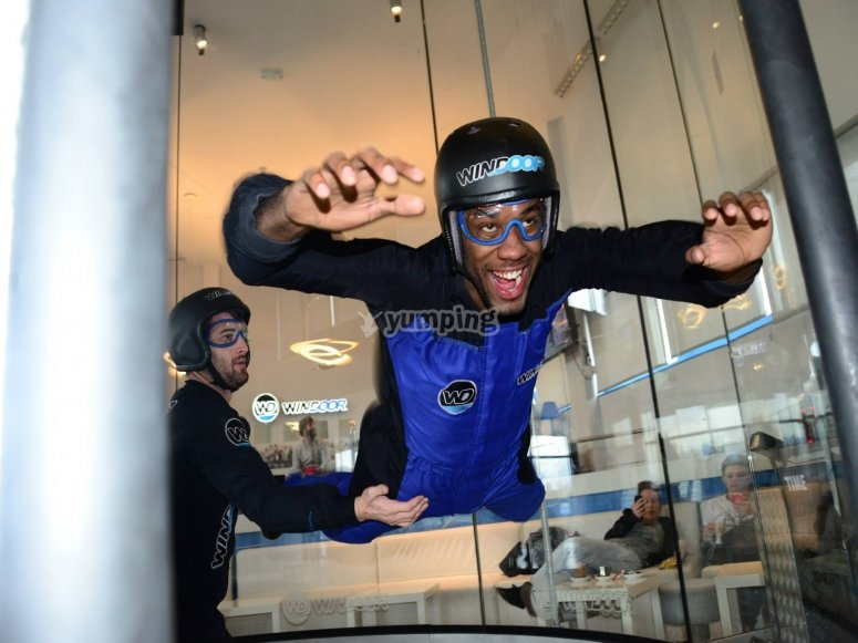 Free fall in a wind tunnel
