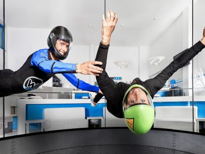 2 flights of 1 min in wind tunnel, Empuriabrava