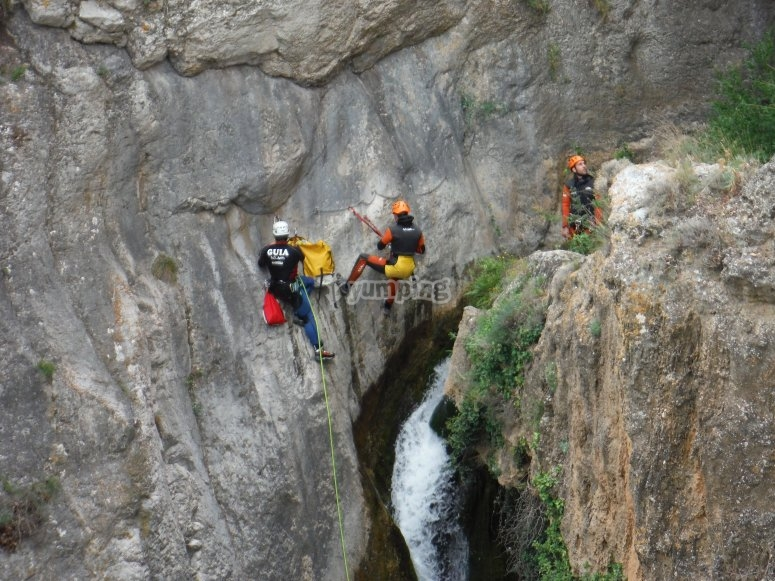 Across the canyon's rock walls