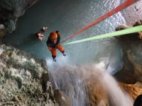 Rapelling at the canyon